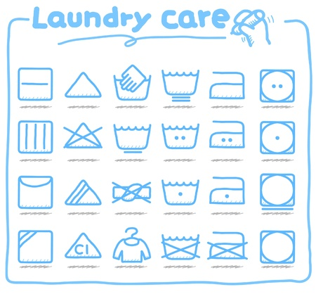 hand drawn Laundry Care ,washing symbols