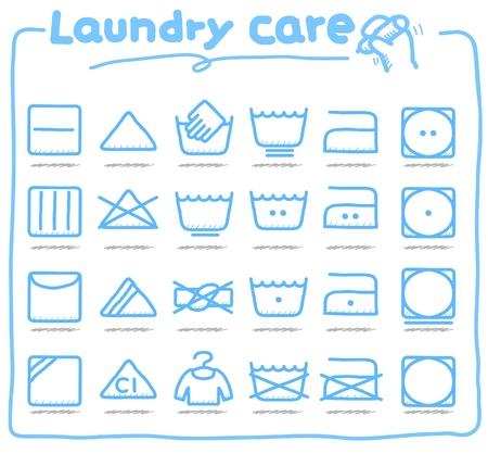 lavando ropa: Servicio de lavander�a dibujado a mano cuidado, s�mbolos de lavado