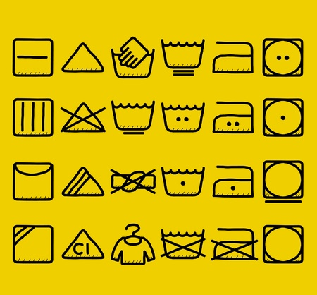 bleach: hand drawn Laundry Care ,washing symbols