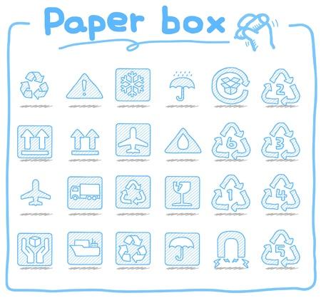 손으로 그린 종이 상자 아이콘
