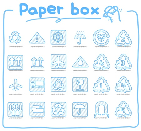hand drawn Paper box icons Vector