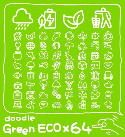 Hand drawn eco icon set Vector