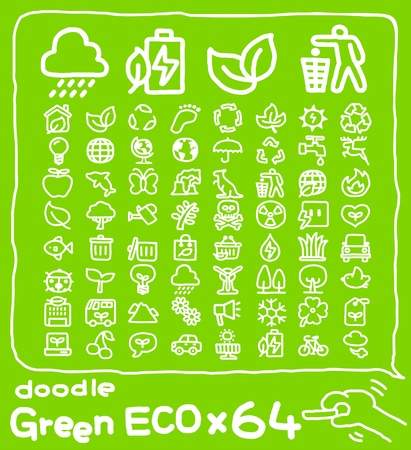 pollution water: Hand drawn eco icon set