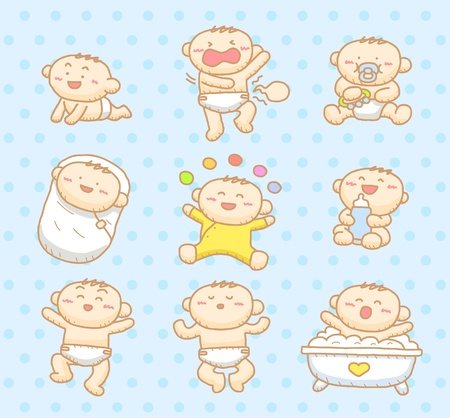 cartoon face: baby boy set