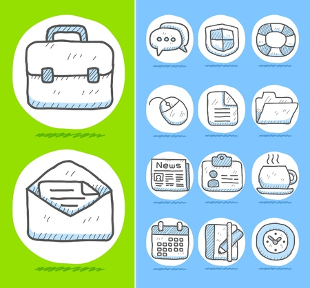 book case: Hand drawn Business,office icon set
