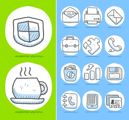printer drawing: Hand drawn Business,office icon set