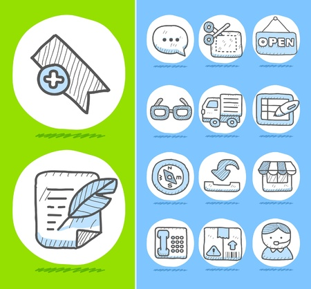 Hand drawn Business,office icon set  Vector
