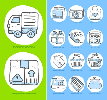 hand cart: Hand drawn Business,office ,travel,shopping icon set  Illustration