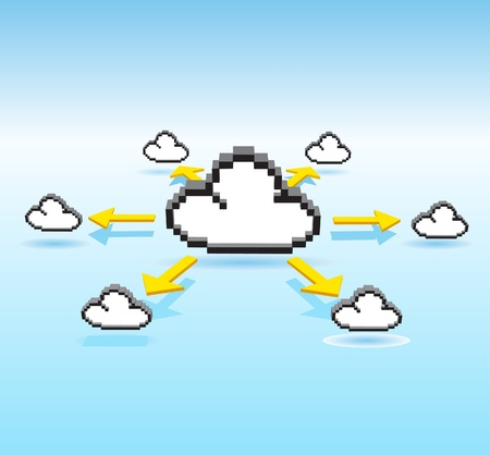 Cloud connecting and arrow  Vector