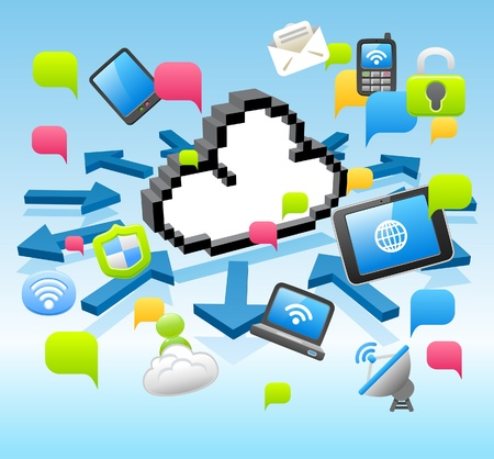 cloud computing services: Vector cloud computing,communication, Tablet PC, Laptop, and Mobil Phone concept