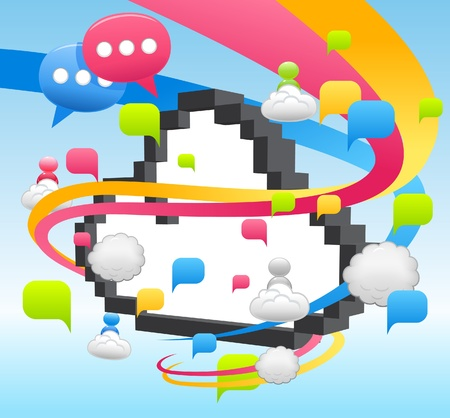 Vector cloud computing,communication,network concept  Vector