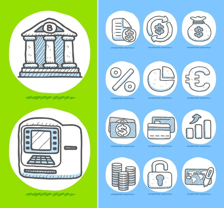 Hand drawn Finance,Banking,Business icon set  Vector