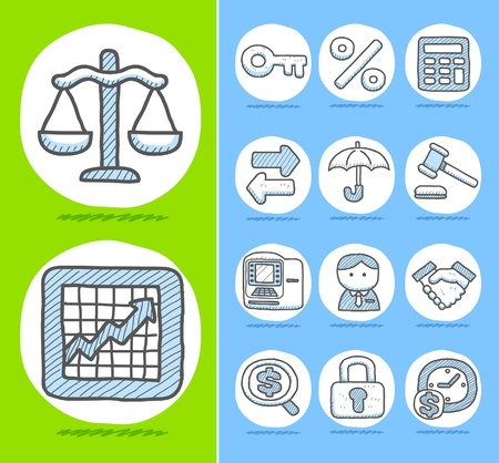 Hand drawn Finance,Banking,Business icon set  Stock Vector - 10877163