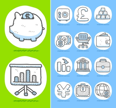Hand drawn Finance,Banking,Business icon set Stock Vector - 10877164