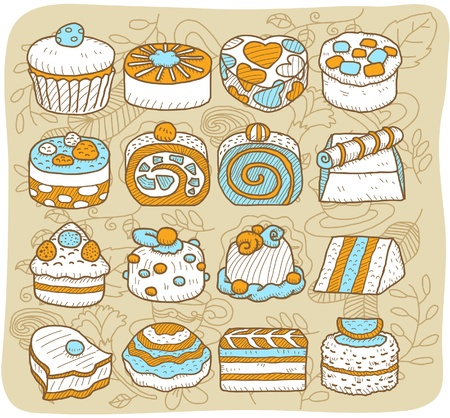 Hand drawn Tea time,cake icon set Vector