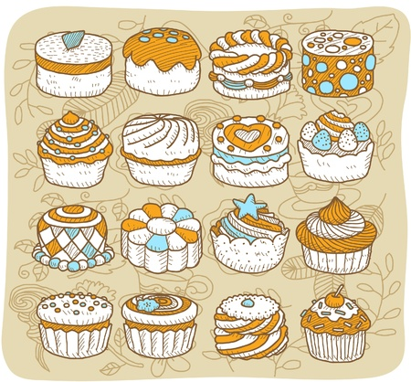 Hand drawn Tea time,cake icon set Stock Vector - 10927181