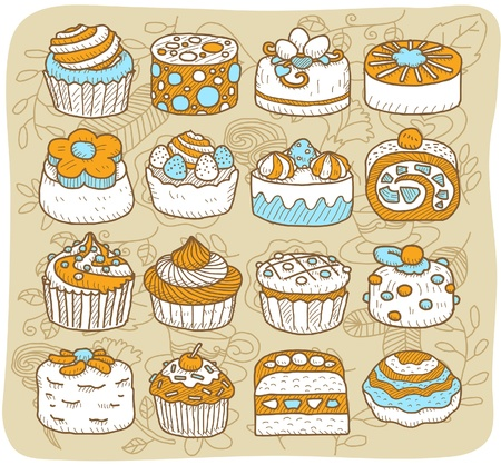 Hand drawn Tea time,cake icon set Stock Vector - 10927211