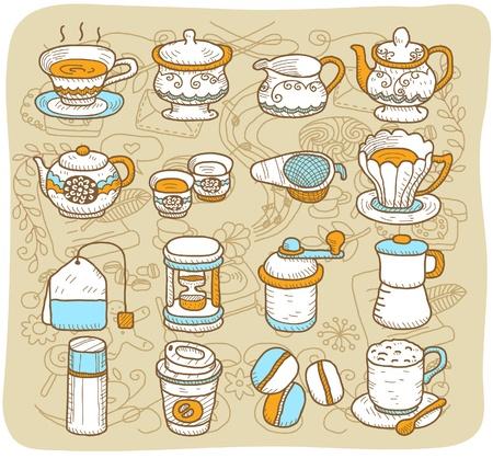 tarde de cafe: Mano de ejecución elaborado té, café, comida icon set Vectores
