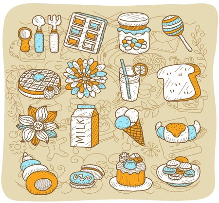 Hand drawn tea time,coffee,food icon set Stock Vector - 10927194