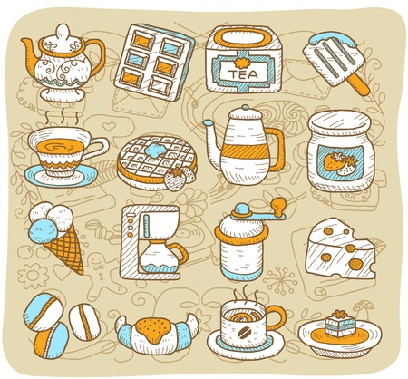 tarde de cafe: Dibujado a mano la hora del té, café, comida, conjunto de iconos