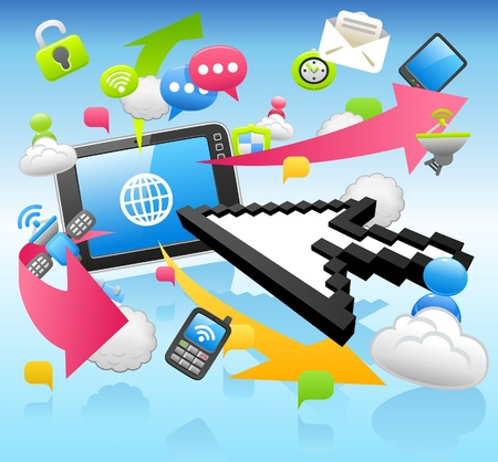 Arrow cursor ,cloud computing,internet,tablet PC ,business set  Vector