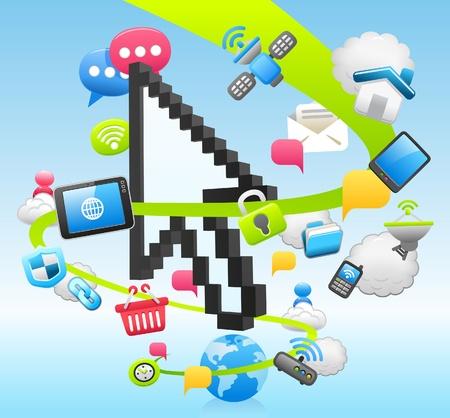 Arrow cursor ,cloud computing,internet,tablet PC,business set Stock Vector - 10877171