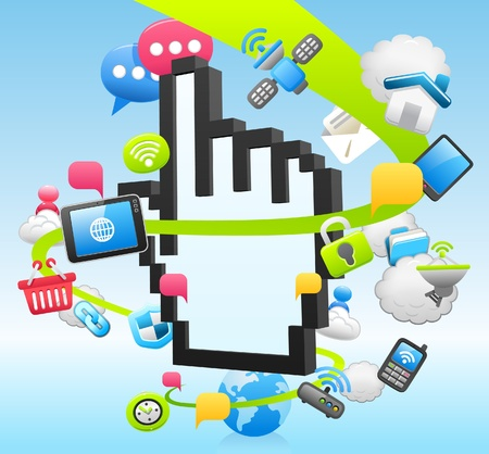 cloud computing services: Hand Sign ,cloud computing,internet,tablet PC,business set  Illustration