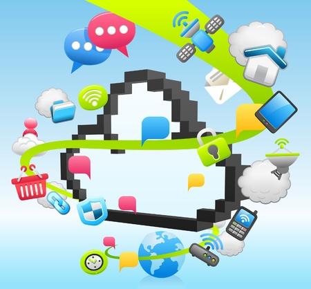 mobil: Vector cloud computing, communicatie, Tablet PC, Laptop, en Mobil Phone concept van