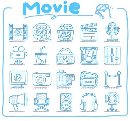 camara de cine: Dibujado a mano movei, los medios de comunicaci�n conjunto de iconos