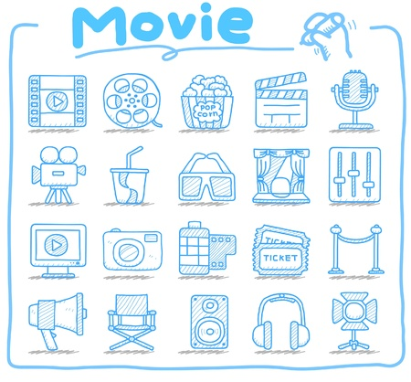 movie clapper: Hand drawn movei,media icon set Illustration