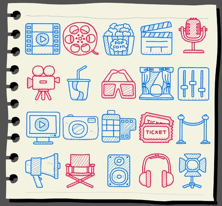 earbud: Dibujado a mano de cine, los medios de comunicaci�n conjunto de iconos