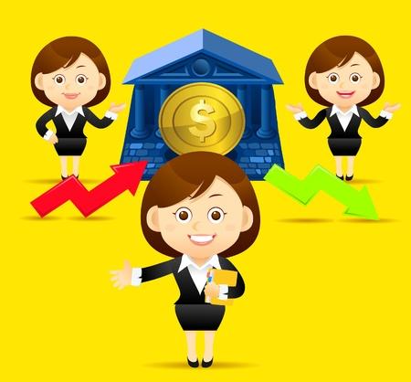 Schöne Business-Frau mit Finanzen, up, down Pfeil und Medaille.