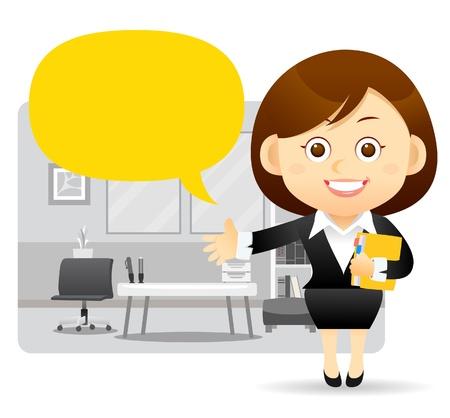 employ� heureux: Belle femme d'affaires, planche graphique et de bureau. Illustration
