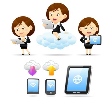 businesswoman suit: Hermosa mujer de negocios, tel�fonos inteligentes, Tablet PC y la computaci�n en nube ..
