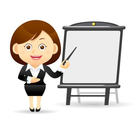 employ� heureux: Belle femme d'affaires avec le pointeur de tableau et le conseil