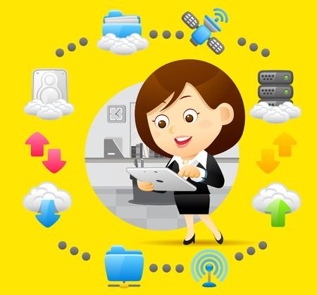 donna con telefono: Imprenditrice, cloud computing, concetto di comunicazione Vettoriali