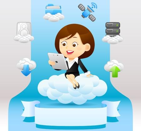 Businesswoman , cloud computing,communication concept Vector