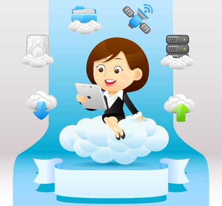 Businesswoman , cloud computing,communication concept Stock Vector - 10926302
