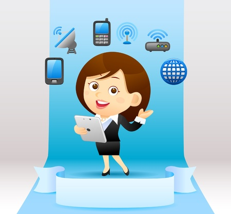 palmtop: Businesswoman , communication concept