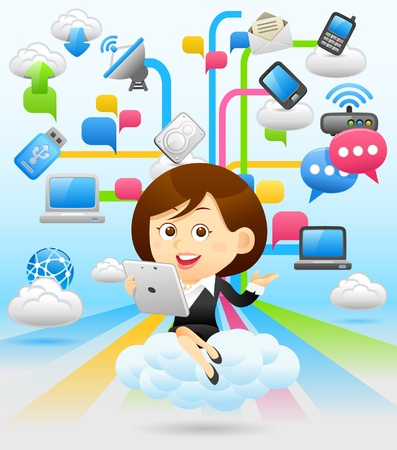 touch pad: Businesswoman , cloud computing,communication concept