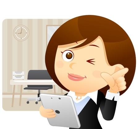profesores: Empresaria, tablet PC concepto