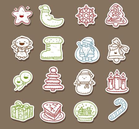 christmas cake: Hand drawn Holidays,xmas icon set Illustration