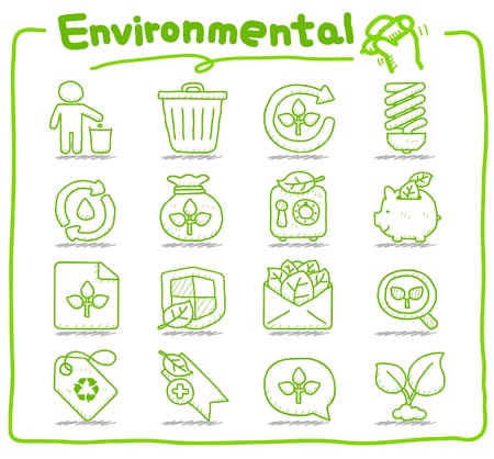 Hand drawn Environment,ECO icon set Stock Vector - 10927251