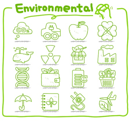 Hand drawn Environment,ECO icon set Stock Vector - 10927252