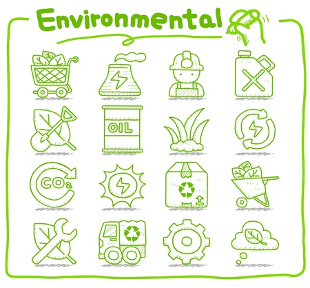 oliedrum: Getrokken Milieu, ECO icon set Stock Illustratie