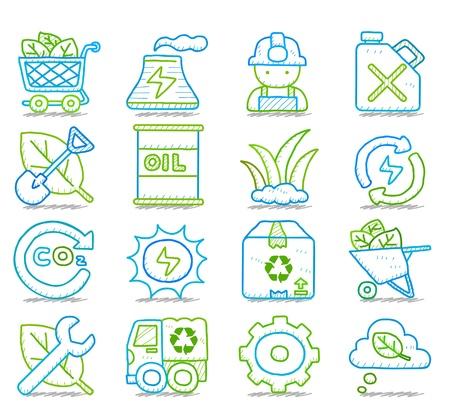 ahorro energia: Dibujado a mano para el Medio Ambiente, ECO conjunto de iconos Vectores