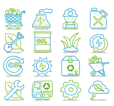 factory workers: Hand drawn Environment,ECO icon set