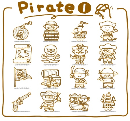 barrel bomb: Hand drawn pirate,robber icon set