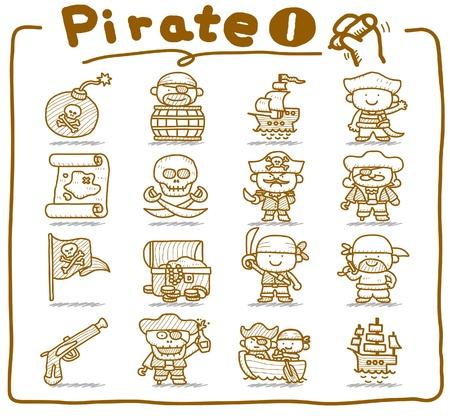 toxic barrels: Pirata dibujado mano, conjunto de iconos de ladr�n