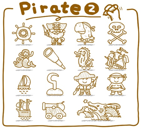 poison sea transport: Hand drawn pirate,robber icon set
